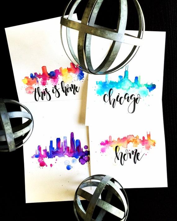 Custom City Scapes | 9 X 12 Bristol Print | Handmade Calligraphy | Watercolor | City | Art | Custom | Wedding Gift