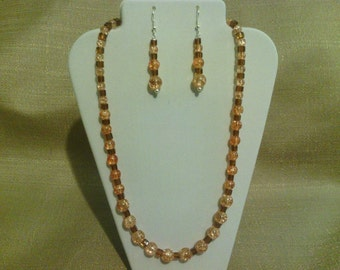 251 Beautiful Apricot Colored Crackle Glass Beaded Necklace