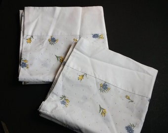 Floral vintage king size pillowcases, king size pillowcases, blue and yellow floral pillowcases