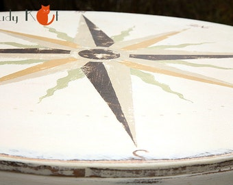 Old table with Compass Rose in vintage style - a marine