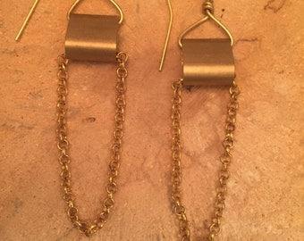 Brass earrings, earrings, Dangle Chain Earrings