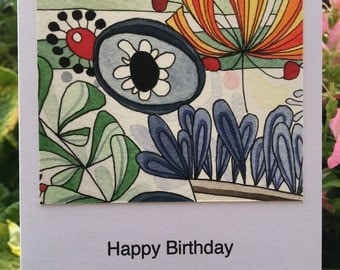 Abstract Flowers Greetings Card