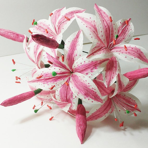 Flowers Similar To Lilies: Items Similar To Pink Stargazer Lilies Bouquet, Crepe