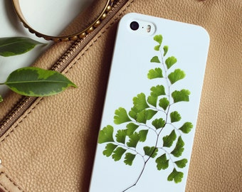 Green iPhone SE case • real pressed flower iPhone 5 case • resin floral bumper case • iPhone 5s case • leaves phone case