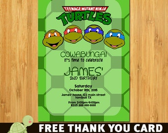 TMNT Invitation, Ninja Turtle Invitation, Ninja Turtles Party, Ninja Turtles Invitation, Invite, TMNT Party, Ninja Turtle Birthday-