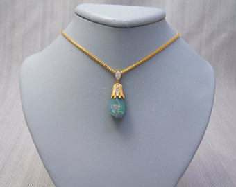 10.53ct Natural Crystal Opal 14k Gold Necklace
