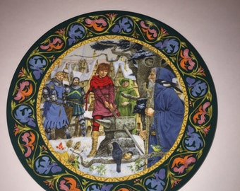 "Arthur Draws the Sword 9"" Plate by WedgeWood Bone China"