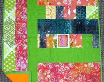 Batik Embroidered Lap Quilt Throw