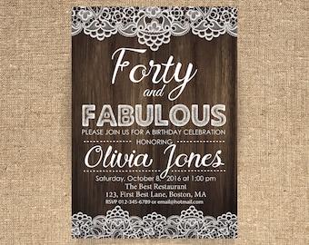 40th birthday invitation Lace invitation Woman birthday invitation Adult birthday Printable Invitation ANY AGE - 1572