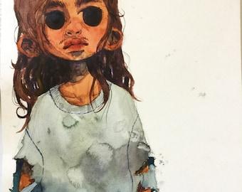 girl 8-) watercolor painting!