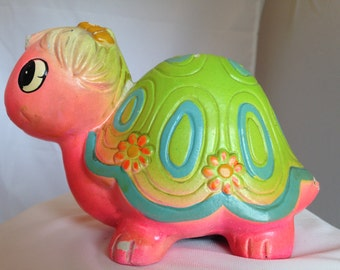 Fluorescent Pink/Green Turtle Bank Holiday Fair Chalkware Japan w/Stopper   (375)