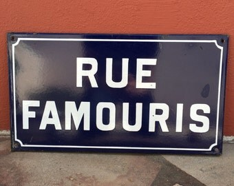 Old French Street Enameled Sign Plaque - vintage famouris