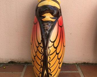 XLSIZE YELLOW vintage French MAJOLICA cicada wall pocket vase moustier handmade