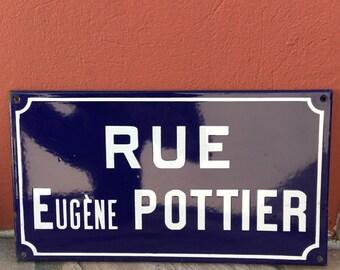 Old French Street Enameled Sign Plaque - vintage pottier 2
