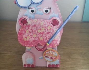 3D Hippo Box Pop Card
