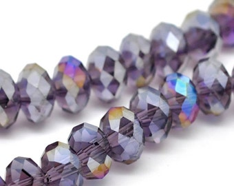 """10 glass beads """"Rondelle"""" - 8 * 6 mm - purple out / G1-0364"""