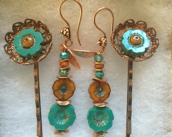 Teal and Orange Flower Earring and Bobby Pin Set