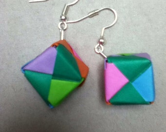 origami cube earrings