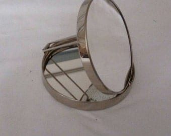 Vintage Hammered Silver Compact Mirror