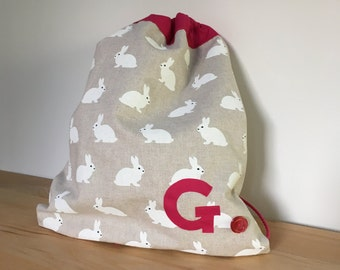 Girl's bunnies PE bag with bright pink lining - can be personalised