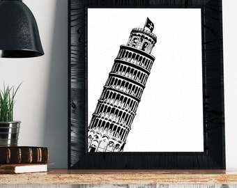 Leaning Tower of Pisa Print - Italy Painting, Italy Wall Art, Italy Print, Italy Art, Italian Decor, Minimalist Art, Modern Art, Gifts
