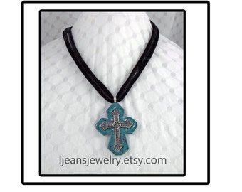 Handmade Faux Turquoise Polyme Clay Cross Pendant Necklace