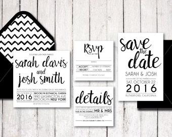 "Printable Square Wedding Invitation Set | ""Modern Brushed"" | Black & White | Custom | Digital Download"