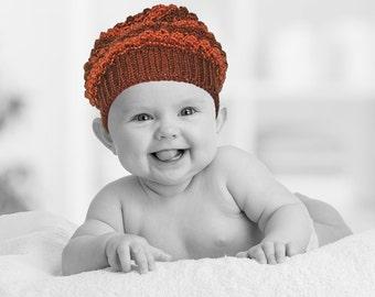 Super Cute Hand Knit Baby Hat / Tam - Orange & Brown Textured Stripes - Newborn 0 to 3 Months