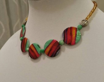Mint Summer Dream/black, hint of lavender, pink, turquoise, gold beaded necklace