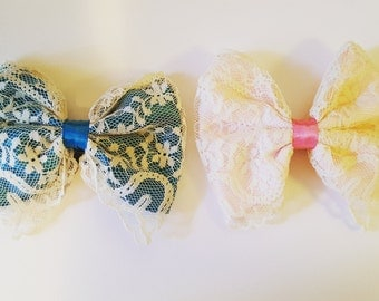 Teal or Light Pink Lace Hair Clip