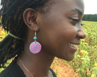 Purple and blue ear-rings handmade in Uganda