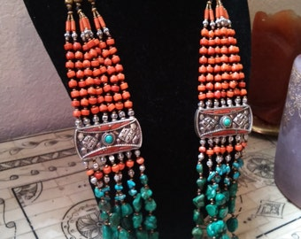 Turquoise, Coral, and Silver Beaded Necklace
