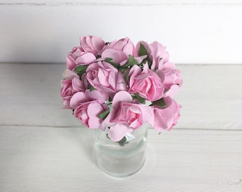 Bunch of 12 Flowers, Miniature Flowers, Paper Flowers, Paper Roses, Miniature Roses, Paper Flowers, Small Flowers, Pink Miniature Roses.