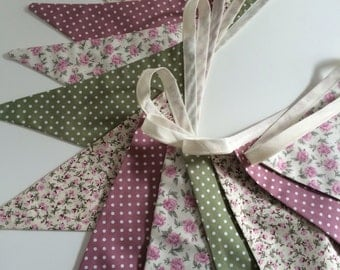 Floral bunting, white polka dots bunting, pink and green, pink roses, cream background, vintage style bunting, floral flags, polka dot flags