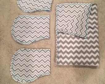 Soft Gray Chevron Baby Blanket with 3 burp cloths