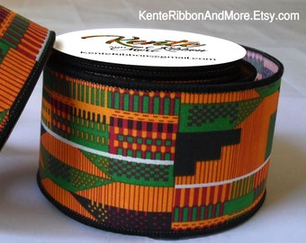 "Kente Style Ribbon - WIRED Edges - 2.5"" x 10 yards Roll - Printed Kente Cotton Fabric (starched)"