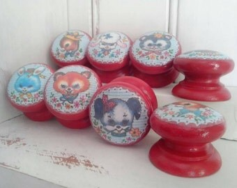 Kitsch Red Decoupage & hand painted Drawer Knobs