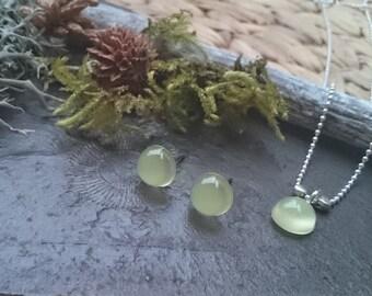 "Resin - jewelry set ""blip"" ball chain, pendant and earrings (135) - resin"