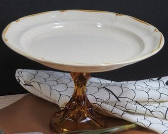 "Vintage Cake Stand in Amber/10""Cake Stand/Dessert Pedestal/"