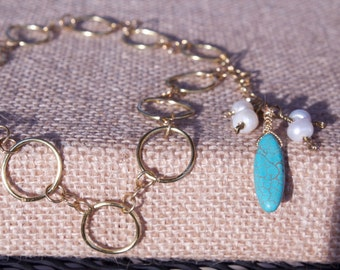 Turquoise (howlite) and Freshwater Pearl Lariat Necklace