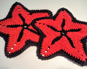 Starfish Potholders/Dishcloths/Coasters (Red/Black)