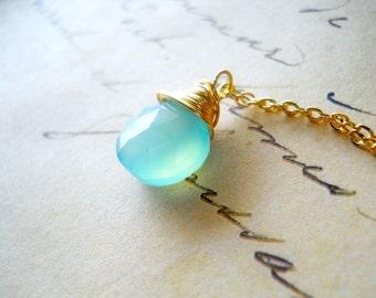 Seafoam Gemstone Necklace, Aqua Chalcedony 14k Gold Delicate Chain, Aqua Raindrop Necklace, Bridesmaid Gift, Mint Necklace, Sea Foam