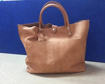 Handmade Leather Bag aged effect