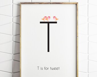 T is for tween print, alphabet T print, the letter T, bird printable decor, baby room print, nursery decor printable download