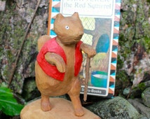 Wood Carving Squirrel Thornton W. Burgess Book Vintage Chatterer the Red Squirrel Hand Painted Waterbased Paint Basswood Hand Carved Animal