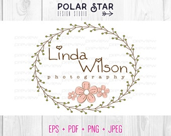 Rustic Floral Wreath - Premade Logo and Watermark Customized For Photography, Any Business - Vector Logo Design (033)