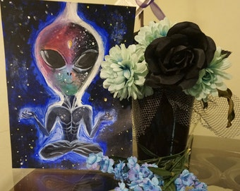 Space Alien Oil Painting Print