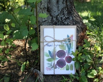 Thank You Flower Card. 4 in x 6 in watercolor.
