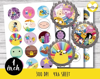 50% OFF SALE 60 Adventure Time Bottle cap-Adventure Time 1 inch Bottlecap-Adventure Time stickers-Adventure Time 1 inch bottle cap-COD16