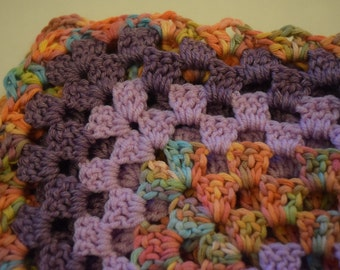 Colourful crocheted baby blanket 70 cm square